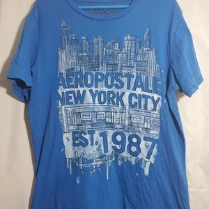 mens large blue aerpostale shirt new york 1987